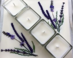 Glass Square with four glass cubes - designed with lavender