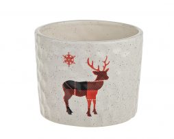 Tartan Stag Candle in Cream Pot