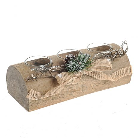 Christmas Wooden Log Tealight Holder