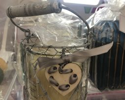 grey rustic heart candle