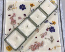 sq glass platter - floral